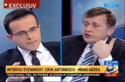 Schimb de replici savuros intre Crin Antonescu si Mihai Gadea, la Antena 3: Să terminăm emisiunea că nu mai suport tristeţea domnului Gâdea
